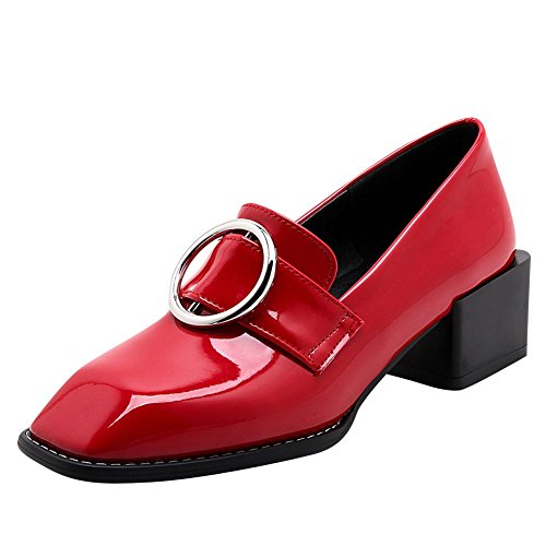 Carolbar Femmes Orteil En Cuir Verni Boucle Talon Moyen Pompes Chaussures  Rouge