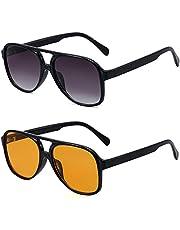 ASHOWIN lentes de sol clásicas de aviador vintage para mujeres y hombres con montura grande, lentes de sol retro de los años 70 Gafas de protección UV 2paquetes