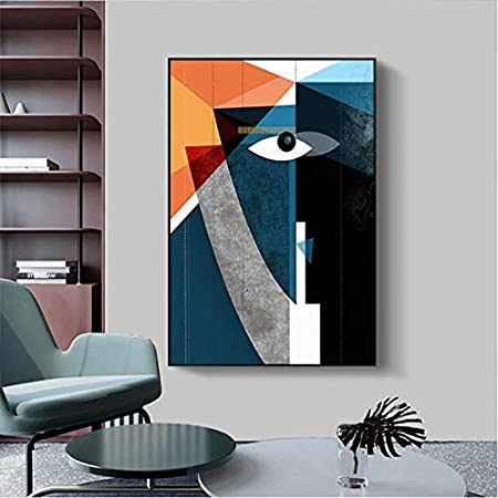 mohanshop Figura Geométrica Abstracta Moderna Cara Pared Arte Cuadros Lienzo Pintura Carteles Impresiones para Sala De Estar Decoración del Hogar K1835 (40X60Cm) Frameloos