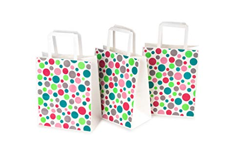 Paper Party Favor Bags Bulk Bright Color Pink Blue Green Red Dots | Kraft Paper Tote Gift Bag with Handle for Kid Birthday Treats, Goody, Snack, Decor, Craft, Retail | Medium 8x4.75x10