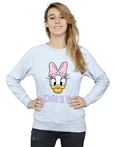 Disney Women's Daisy Duck Face Sweatshirt Large Heather Grey ()