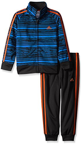 adidas Toddler Boys' Tricot Jacket and Pant Set, Black Blue Print, 2T