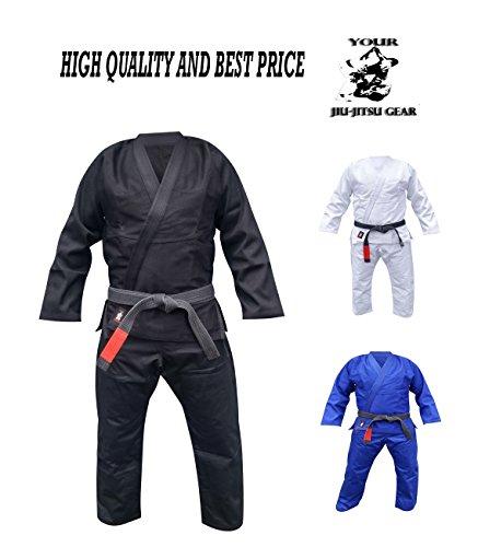 Your Jiu Jitsu Gear Brazilian Jiu Jitsu Uniform Light A1 Black Free White Belt ()