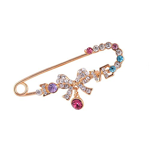 Ab Rhinestone Brooch (diffstyle New Design Rhinestone Brooches Pin Crystal Plated Bow Shape Jewelry Gifts For Women Ladies)