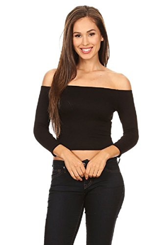 H&H Fashion Womens Ribbed Off Shoulder 3/4 Sleeve Knit Crop Top Black-Medium