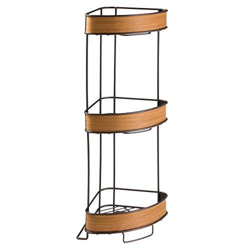 InterDesign RealWood Free Standing 3-Tier Corner Shelf fo...