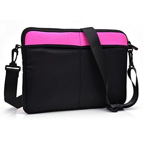 Kroo uneversal Messenger/Sleeve Tasche mit Zubehör Tasche und Schulterriemen passt für Asus C200MA 29,5cm Chromebook schwarz schwarz Megenta