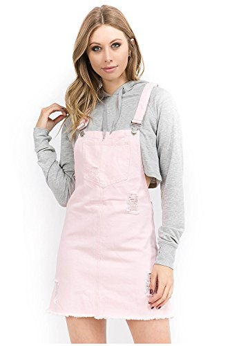 TwiinSisters Women's Casual Denim Destroyed Overall Dresses for Women Plus (Medium, Pink #rsdo760)