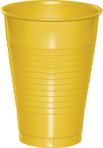 Touch of Color Premium Plastic Cups, School Bus Yellow, 20 Count