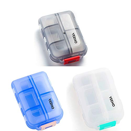 (Yeeho Pill Case (3 Pack) - Portable Small Supplements Tablet Container Box with 10 Compartments - Medicine Capsule Vitamin Fold Flip Organizer Dispenser Holder Storage for Travel Trip Pocket Purse )