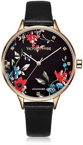 VICTORIA HYDE Analog Quartz Watches for Women Casual Floral Pattern Dial Fashion Wristwatch with Genuine Leather Strap Black Red Grey
