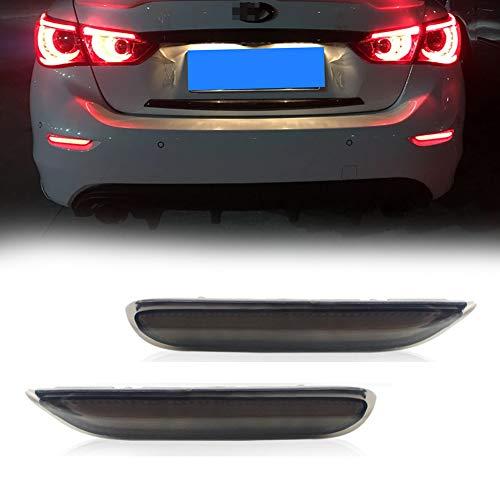 GTINTHEBOX (2) 3D Optic LED Rear Bumper Reflector Brake Tail Lights w/Sequential Turn Signal Lamps, Strobe Brake Lighting Kit For Infiniti Q50 QX56 QX60 QX80 Nissan Pathfinder Rogue, etc