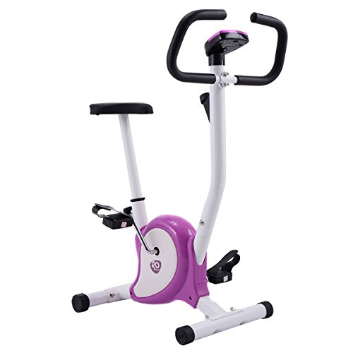 White + Purple, Exercise Bike Stationary Cycling Fitness Cardio Aerobic Equipment Gym Purple (Fireplace Outdoor Ideas Seating)