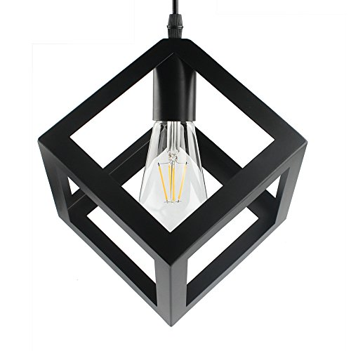 B2ocled Pendant LightNordic Style Geometric Hanging LampBlack Iron Lamps 1 Light Square