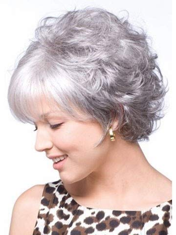 Amazon.com: LZLAN Fashion Peruca Short Grey White Synthetic Hair Natural Curly Wavy Women Parrucca Grigia Wigs+Free Wig Cap (Size: Short, Color: Silver): ...