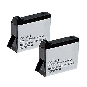 CELLONIC 2X Batería Premium Compatible con GoPro Hero 4 Black Edition Hero 4 Silver Edition Hero 4+ Hero 4 Plus Hero4, 1160mAh AHDBT-401 335-06532-000 ...