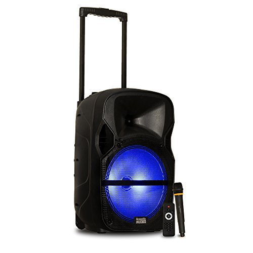 "Acoustic Audio by Goldwood Powered Speaker Cabinet Battery 12"" Bluetooth LED Display and Wireless Mic (PRTY121"
