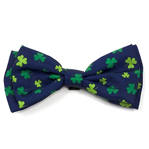 The Worthy Dog Lucky Clover Shamrock Pattern Comfortable Casual Bow Tie Cute Dog Accessories Fit Small Medium and Large Dogs – Navy Color