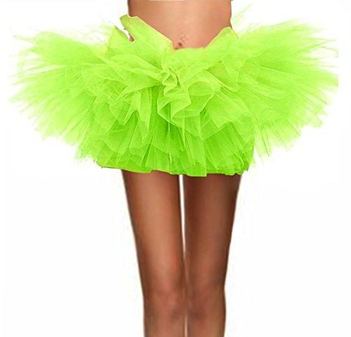 (T-Crossworld Women's Classic 5 Layered Puffy Mini Tulle Tutu Bubble Ballet Skirt Fluorescent Green)