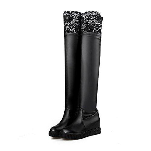 Allhqfashion Stiefel mit Damen Schwarz High Plateau PU Mischungsmaterial Spitzenverzierung Heels für und rqArw