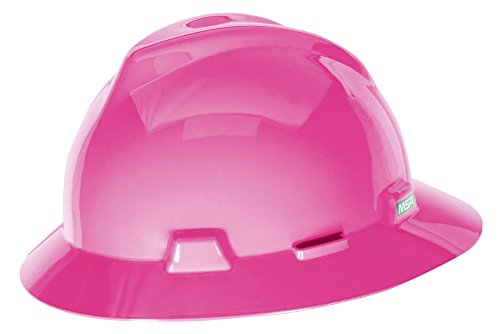 MSA 10156373 V-Gard Slotted Full-Brim Hat, Hot Pink,