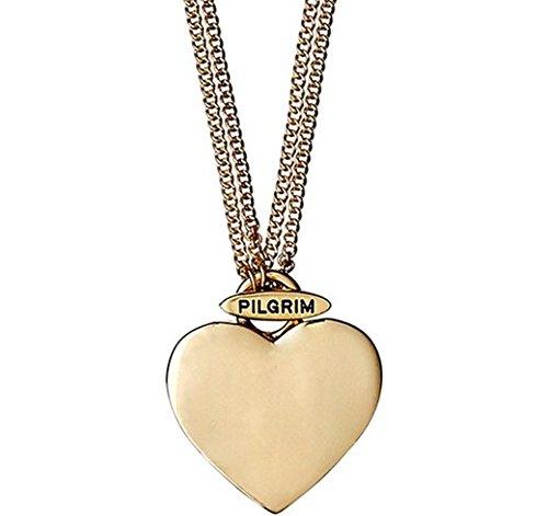 Pilgrim collana da donna, con cuore placcato oro