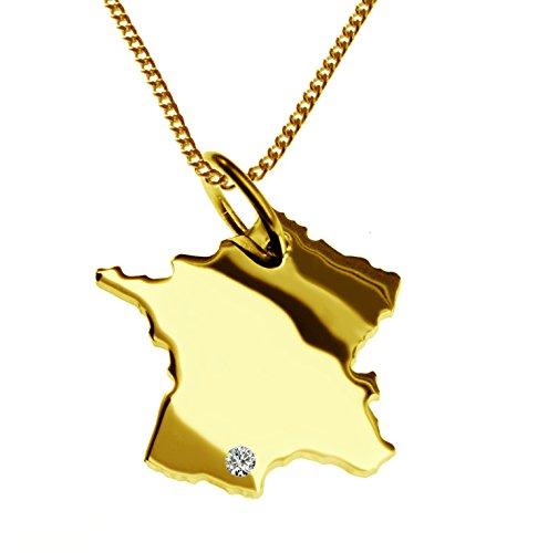 Endroit Exclusif France Carte Pays Pendentif avec brillant à votre Désir (Position au choix.)-avec Chaîne-massif Or jaune de 585or, artisanat Allemande-585de bijoux