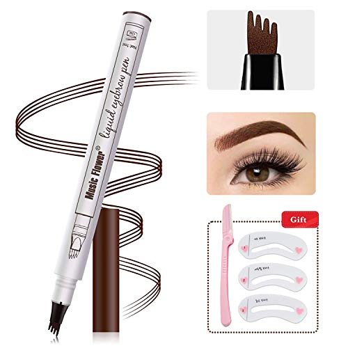 (Eyebrow Tattoo Pen - MoonKong Eyebrow Pencil With Four Tips, Waterproof Ink Brow Gel Tint Long Lasting Smudge-Proof Natural Hair-Like for Eyes Makeup (Chestnut))