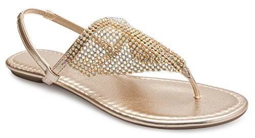OLIVIA K Women's Summer Beach Rhinestone Slingback Thong Sandals - Easy Slip On by OLIVIA K