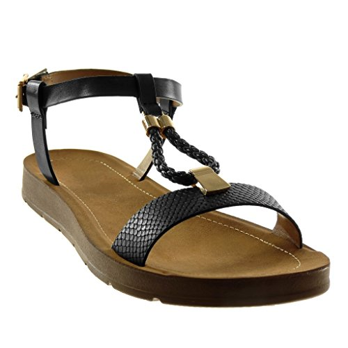... Angkorly Damen Schuhe Sandalen - Knöchelriemen - T-Spange -  Schlangenhaut - Golden - Geflochten ... e360068c5a
