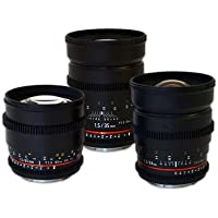 Rokinon Canon EF-Mount 3 Cine Lens Bundle w/24mm 35mm and 85mm EF Lenses, DEAL