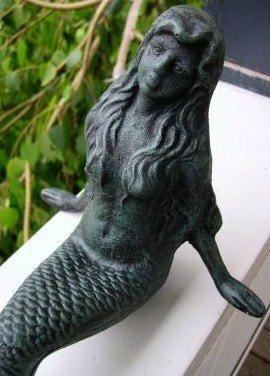 Leaning Cast Iron Mermaid Garden Figure