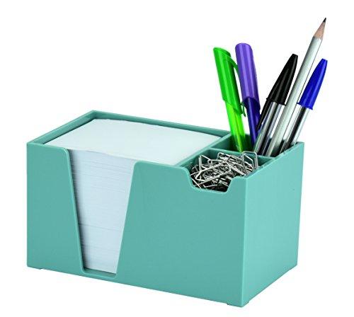 Acrimet Desk Organizer Pencil Paper Clip Holder (Solid Green Color) (with Paper)