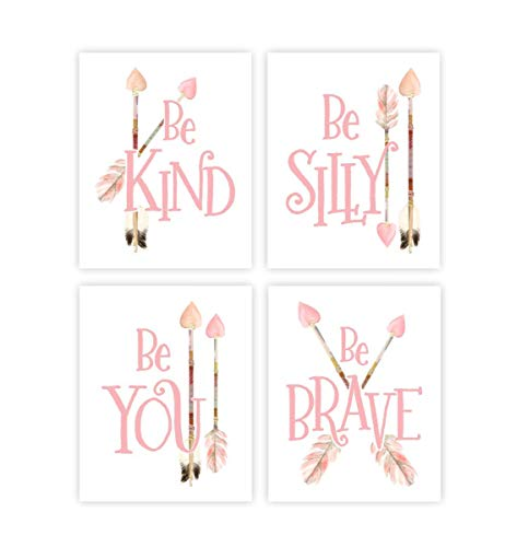 Nursery Arrow Wall Decor Baby Girl Nursery Art Set of 4 Boho Art Prints Be Brave Print UNFRAMED