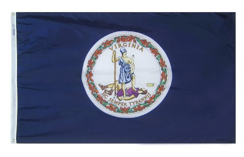 Annin Flagmakers Model 145660 Virginia State Flag 3x5 ft. Nylon SolarGuard Nyl-Glo 100% Made in USA to Official State Design Specifications. ()