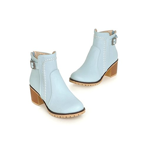 Lucksender Femmes Mode Bout Rond Bas Chunky Talons Cheville Casual Bottes Bleu Clair