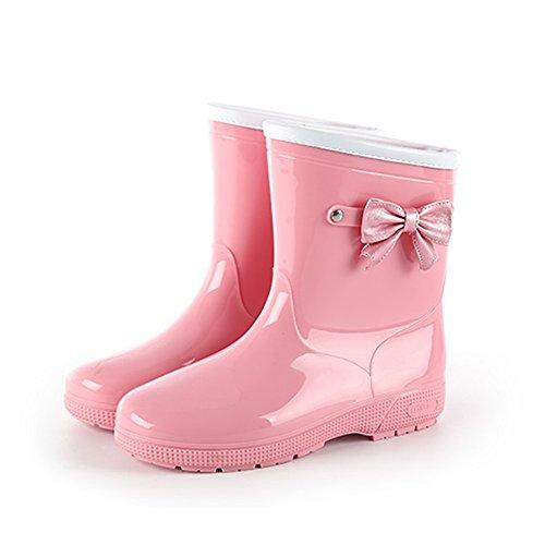 レインブーツ[ベビー・キッズ・ジュニア]子供女の子KIDSレインシューズおしゃれリボンショート(20.5cm,ピンク)