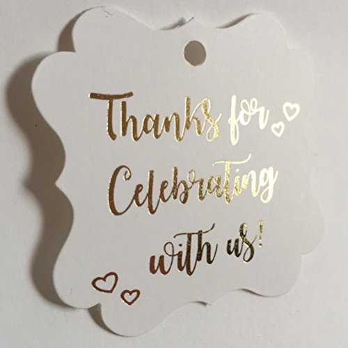 Thank You Tags Gold Foil - 30 Pack - Fancy Frame Gift Tags, Wedding Party Collection, Thanks for Celebrating with Us (Tags Frame 2) ()