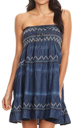Smock Maxi (Sakkas 17187 - Eva Womens Denim Strapless Tube Top Smock Short Sleeveless Dress Chambray - Chambray-Multi - OS)