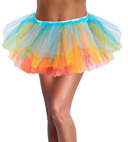 SIPU Halloween Tutus for Women Light Up Neon LED Rainbow Tutu Skirt with Classic 5 Layered Tulle (Glow In The Dark Tutu For Kids)