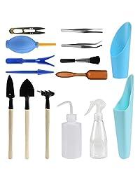 15 pieza suculentas jardín herramientas de mano jardín de hadas en miniatura plantar trasplantar portafolios con juego de herramientas para mejorar tu calidad de vida de jardinería