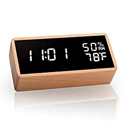 meross Digital Alarm Clock with 3 Sets of Alarms, Display Time Temperature Humidity, Pure Wood Housing, Sound Control Function