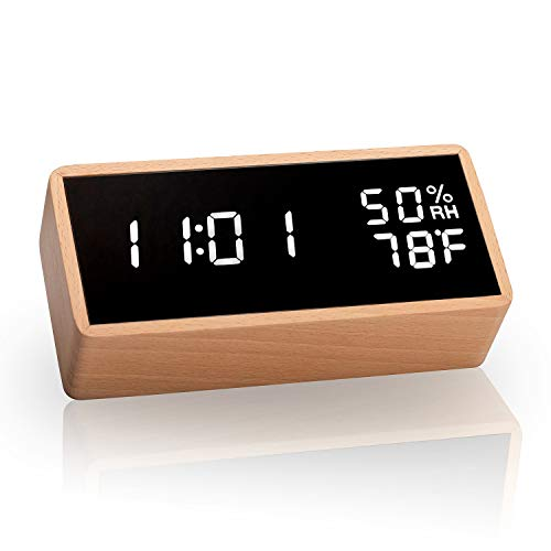 meross Digital Alarm Clock with 3 Sets of Alarms, Display Time Temperature Humidity, Pure Wood Housing, Sound Control Function ()