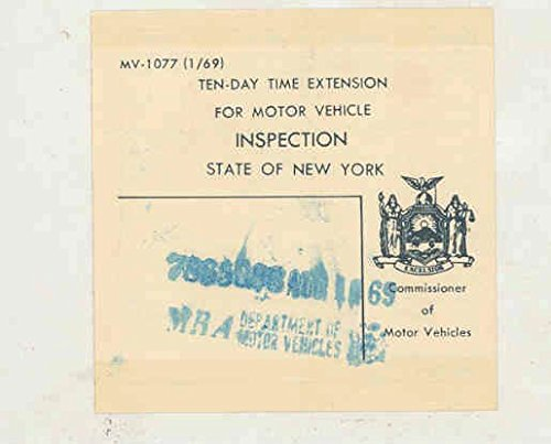 1969 New York State 10 Day Inspection Sticker
