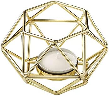 FASHIONCRAFT Gold Hexagon Shaped Geometric Design Tea Light/Votive Candle Holder