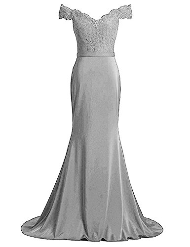Shoulder Mermaid BOwith Formal Party Long Dresses Evening Silver Lace Off Dress qXAxrfAE