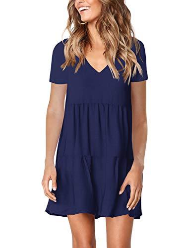 Amoretu Women's Short Sleeve Tunic Dress for Summer Swing Shift Dresses Navy L