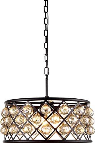 Elegant Lighting Pendant Madison 5-Light Mocha Brown Golden Teak Smoky Crystal Gold Facet