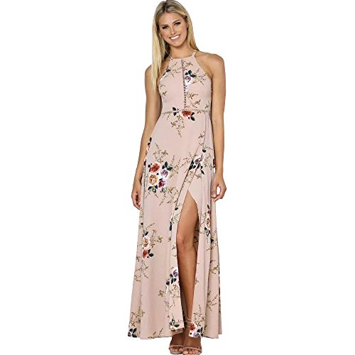 Harson&Jane Mujeres Maxi Largo Vestido de Gasa con Impresión Floral Cabestro Horquilla Abierta Escotado por detrás Elegante Vestido de Playa Beige