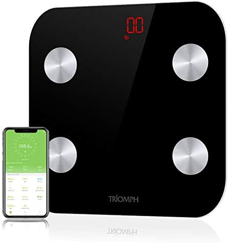 Triomph Bluetooth Body Fat Scale, Smart BMI Digital Bathroom Wireless Weight Scale Body Composition Monitor with iOS Android APP for Body Weight, Fat, Water, BMI, BMR, Muscle Mass, Black